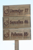 Route markers on the cycling trail...Mallorca