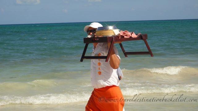 Fairmont Mayakoba Mayan Riviera, Mexico, service at the beach