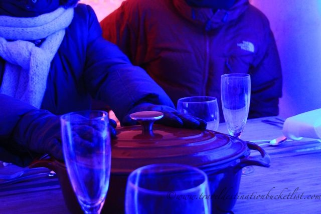 dinner at the snow village