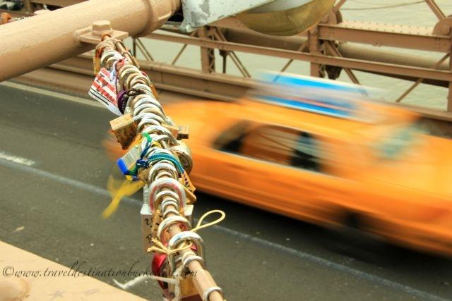love locks and taxi New York City