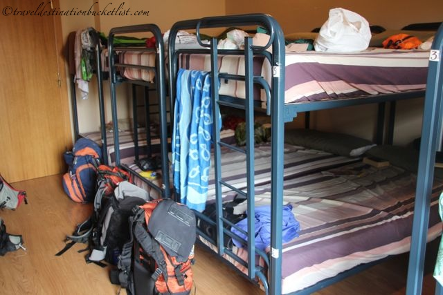 bunk beds in the municipal hostel on the Camino de Santiago