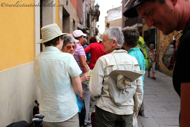 Pilgrims in line on the Camino de Santiago