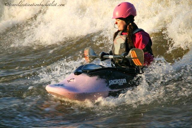 white water kayaking at the Champlain Bridge, Ottawa