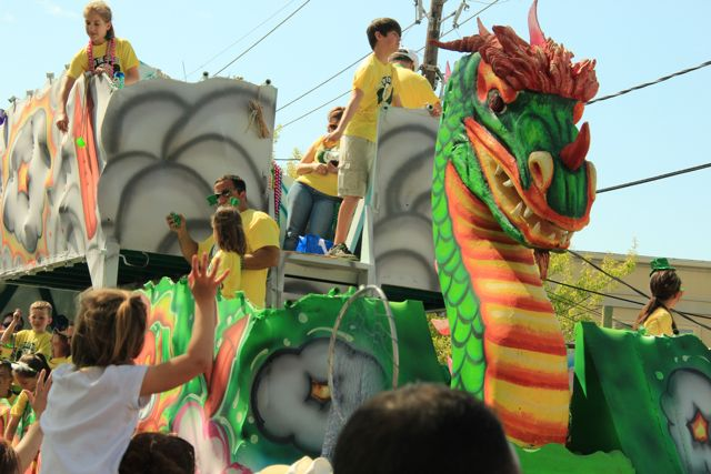 Colourful floats at the St Patrick's Day Parades, New Orleans