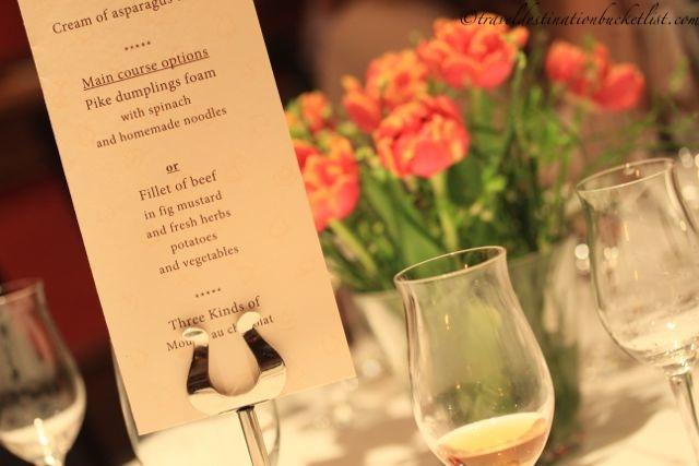Dinner menu at the Krone Hotel, Germany