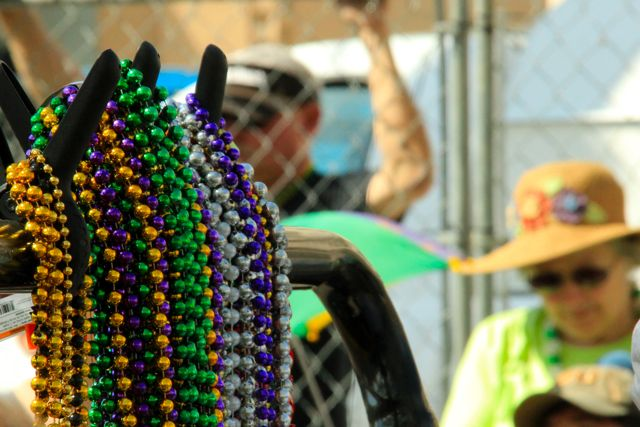 New Orleans beads at the St Patrick's Day Parade