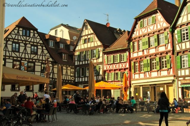Patio season in the town square, Germany