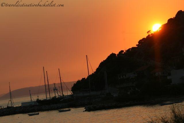 Sunset off the Croatian coast near Split