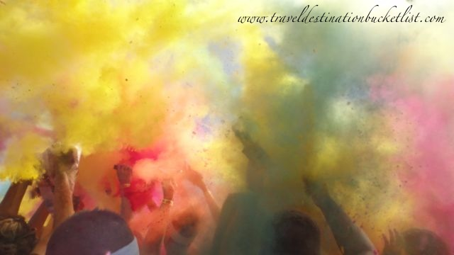 explosion of color at the after party - Rochester Color Run