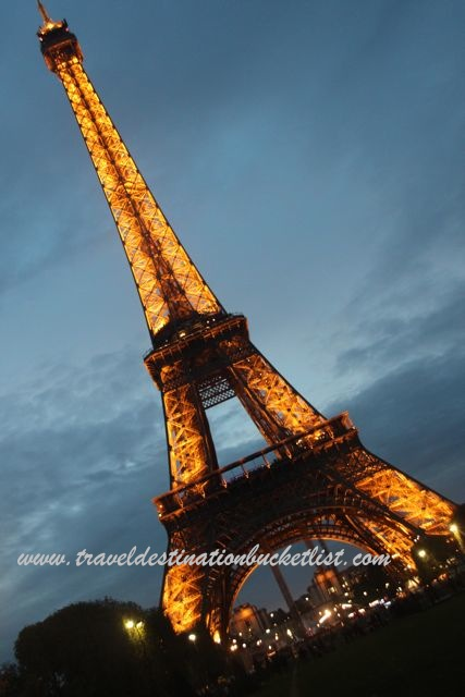 Eiffel Tower lit up at night in the City of Lights