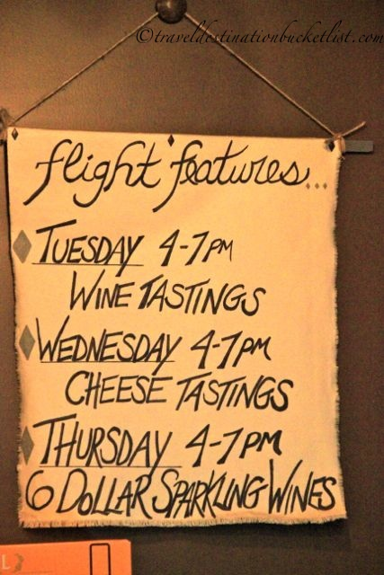 Wine features at Flight Wine Bar, Rochester, NY