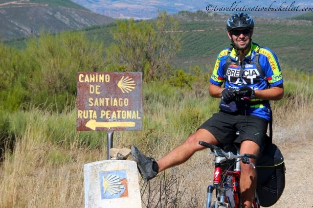 where hiker meets biker on the Camino de Santiago