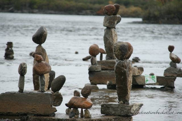 Inukshuck installation along the Ottawa River