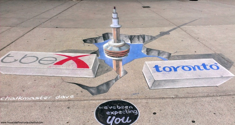 chalk art at TBEX Toronto - CN Tower