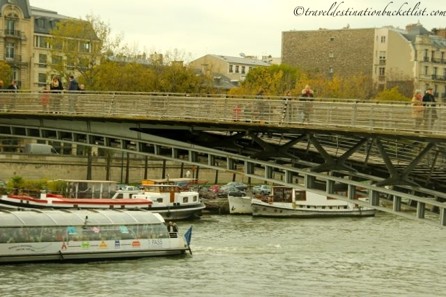 Pedestrian bridge of love locks in Paris