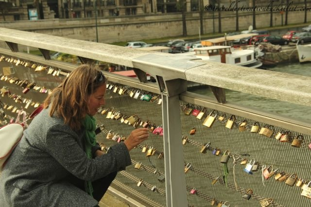 love lock messages over the River Seine in Paris