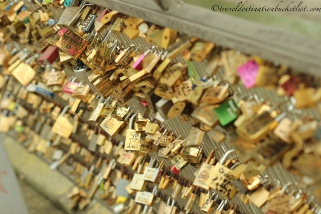 Padlock mania along the River Seine Paris