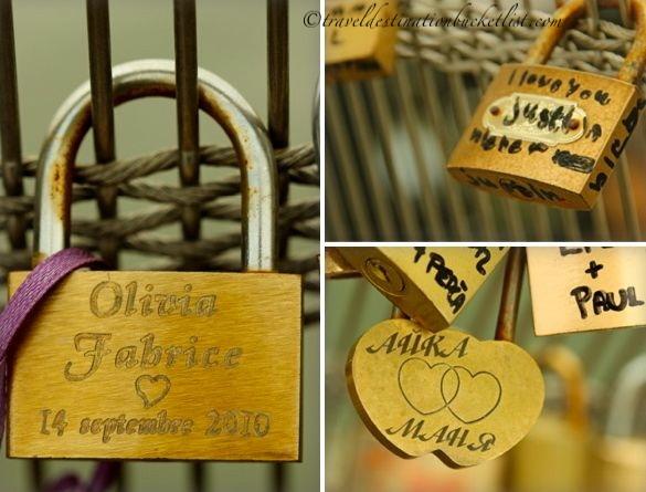 declarations of love over the River Seine Paris