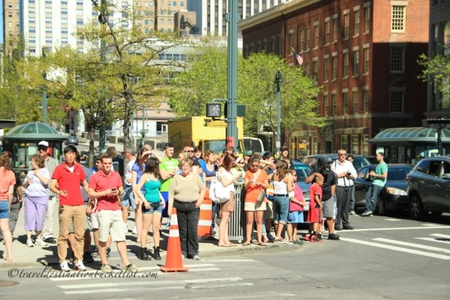 Crowds watching the filming of Spidermand, Rochester NY